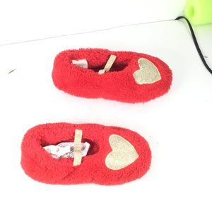 Gymboree Girl Gold Heart Slippers Red Sz Small 5-6